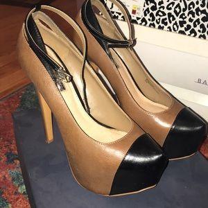 Tan Black Platform Heel with ankle strap